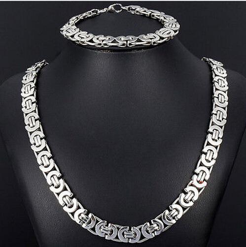 New Style Jewlery Set 8mm Silber Ton Flache byzantinische Kette Halskette Armband 316L Edelstahl Bling für Mode Herren Weihnachtsgeschenk Schmuck