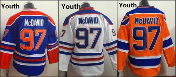 Juventude Crianças Edmonton # 97 Connor Mcdavid Branco Laranja Azul 2015 American Premier Hóquei Jerseys Inverno Gelo Casa Fora Jersey Costurado Autêntico