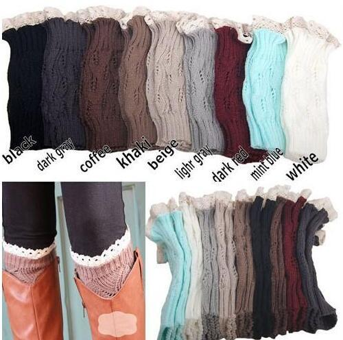 200Pairs women Crochet lace boot cuffs handmade Knit leg warmer Ballet lace Boot Cuff Leg Warmers Christmas Boot Socks covers 9 colors