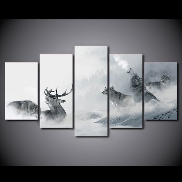 5 Pcs/Set Framed HD Printed White Howling Wolf Group Deer Wall Canvas Print Poster Asian Modern Art Oil Paintings Pictures
