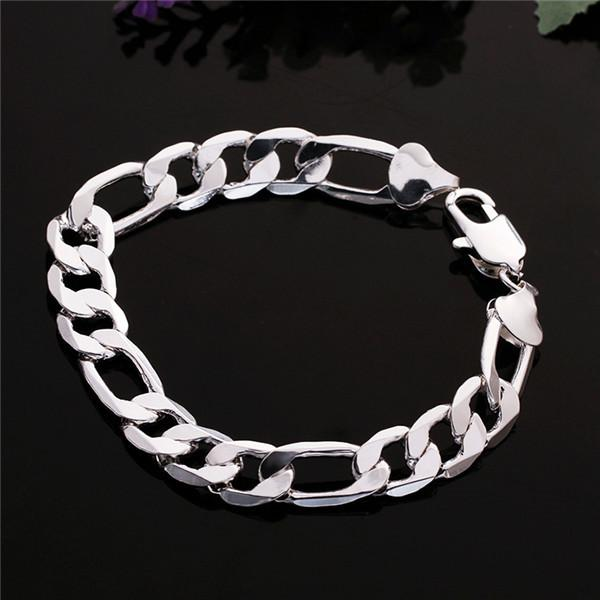 Hot sale gift 925 silver 10M flat three hand - male models DFMCH202,Brand new fashion 925 sterling silver Chain link bracelets high grade