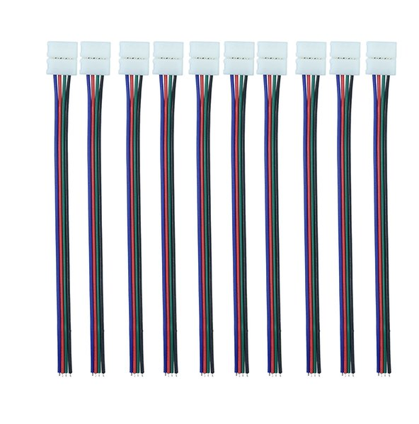 10mm 4pin RGB Led Strip Connector wire Clip Cable For 5050 RGB LED Strip Ribbon Tape free shipping