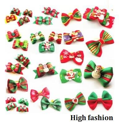 50pcs Factory Sale Christmas Pet Dog Hair Bows bowknot hairpin head flower Pet Supplies Grooming Holiday Dog Accessories P8