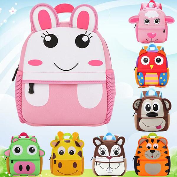 Children 3D Cute Animal Design Backpack Toddler Kid Neoprene School Bags Kindergarten Cartoon Comfortable Bag Giraffe Monkey Owl