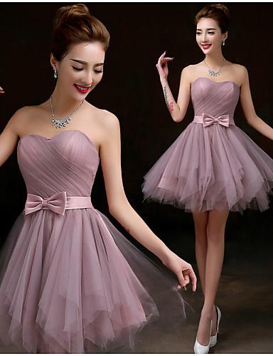 2016 New Cheap Custom Fabulous Free Shippping Purple A-line Sweetheart Bow Ribbon Short/Mini Tulle Bridesmaid Dress 229