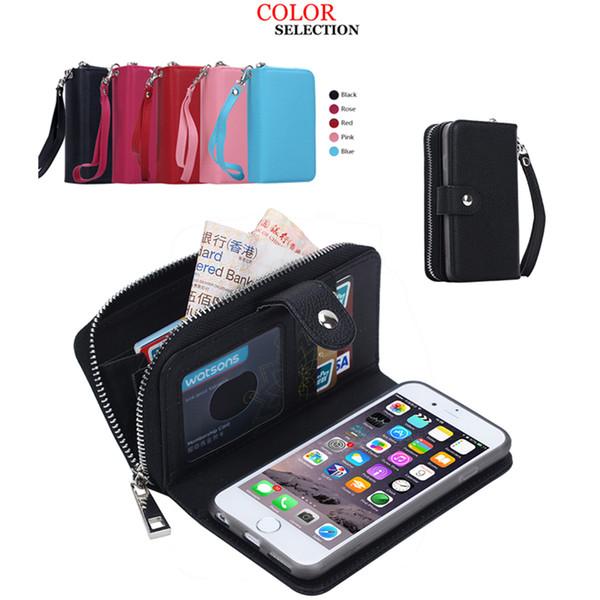 De luxe PU Flip En Cuir Téléphone Portable Couverture de Couverture Zipper Cas Fente Pour Carte Cadre Photo Pochette D'embrayage pour Iphone Samsung DHL GRATUIT