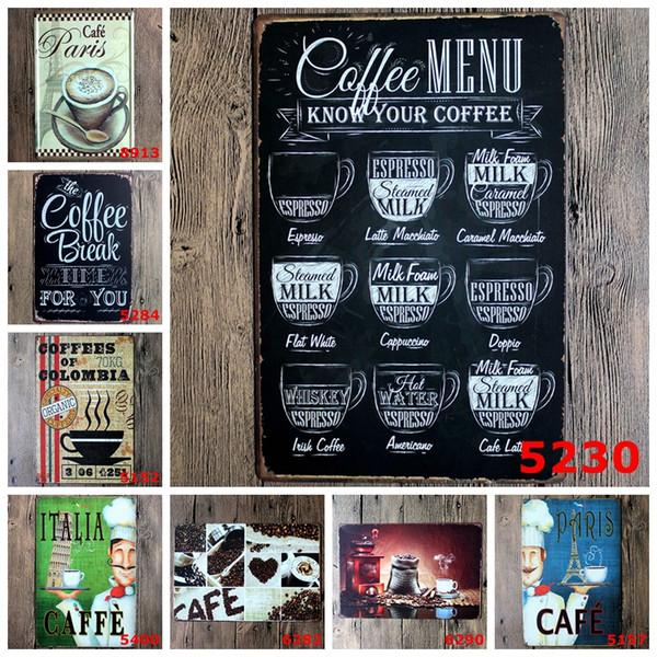 CAFÉ MENU CONNAISSEZ VOTRE CAFÉ 8 * 12 pouces Métal Étain Signe Café Pub Club Galerie Affiche Plaque Murale Mur Café Décor Plat