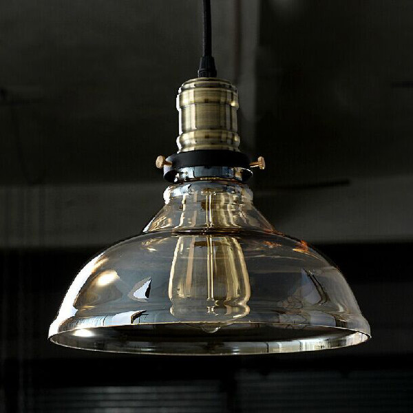 Vintage American country Industrial Chandelier clear and amber Glass cover Lampshade pendant Lamps hanging light Edison E27 Bulb bl-015