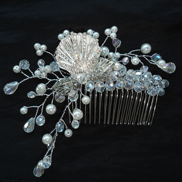 Pearls Rhinestones Bridal Wedding Hairpiece with Flowers Side Comb Festival Prom Hair Jewelry Clips 1 piece/lot Free Shipping bijoux cheveux