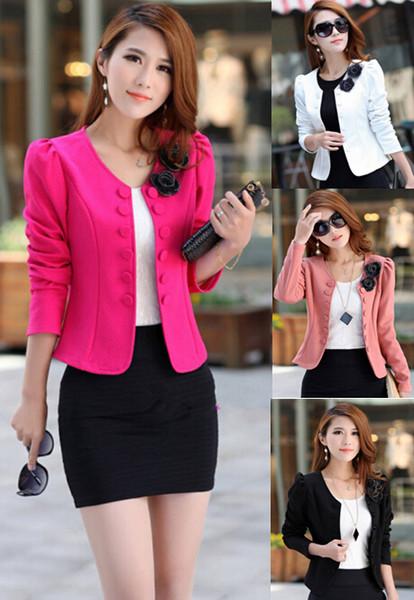 Fashion Women Lady Tops Slim Suit OL Blazer Solid Short Coat Jacket S - XXXL 4 Colors