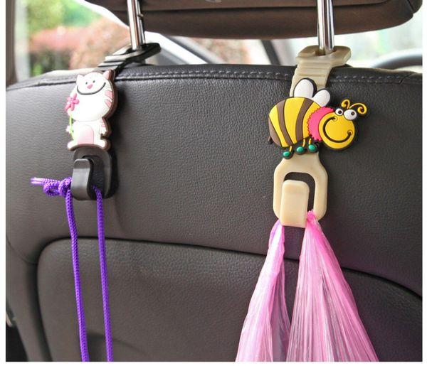 2pcs/set Universal Cute cartoon Car Back Seat Hanger Holder Hook for Bag Purse Cloth Grocery Storage Auto Fastener Clip