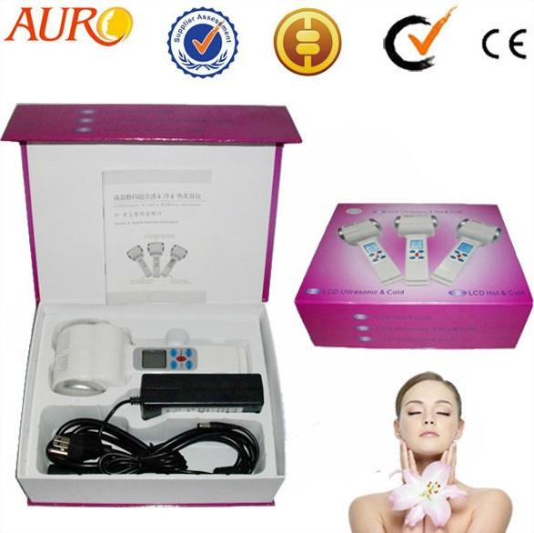 best selling Christmas promotion portable Hot cold hammer and Ultrasonic facial Remove wrinkles beauty machine equipment CE AU-017