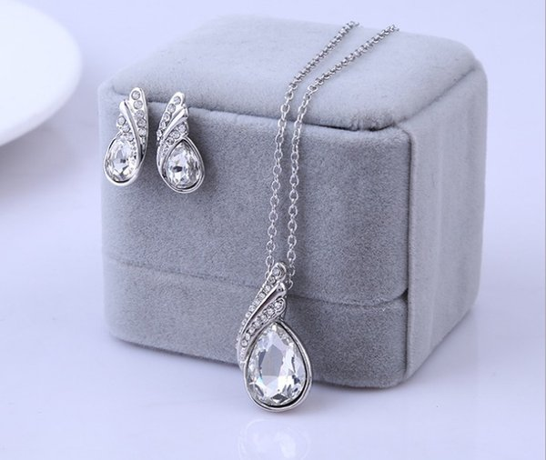 Summer Style Fashion Austria Crystal Water Drop Leaves Earrings Necklaces Jewelry Sets Wedding Dress Jewelry Set For Women MG