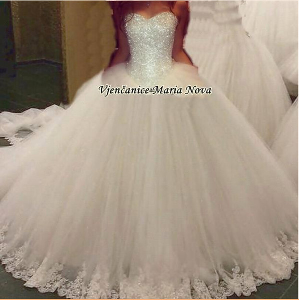 New Elegant Sweetheart Tulle Ball Gown Wedding Dresses Beaded Top Lace Applique Floor length Bridal Gowns Custom Made Wedding Gowns