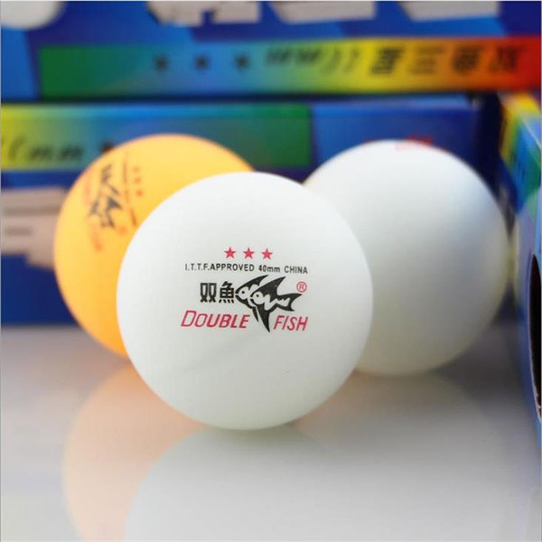 Wholesale- 10 pieces /lot Double Fish High Strength Professional Three Stars Level Table Tennis Ball for Competition Match Club Training