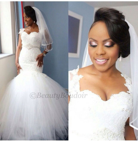 New Arrival 2017 Nigerian Mermaid Sweetheart Lace Tulle Church Wedding Dress Gowns Applique Fit Flare Sheer Plus Size Bridal Gowns
