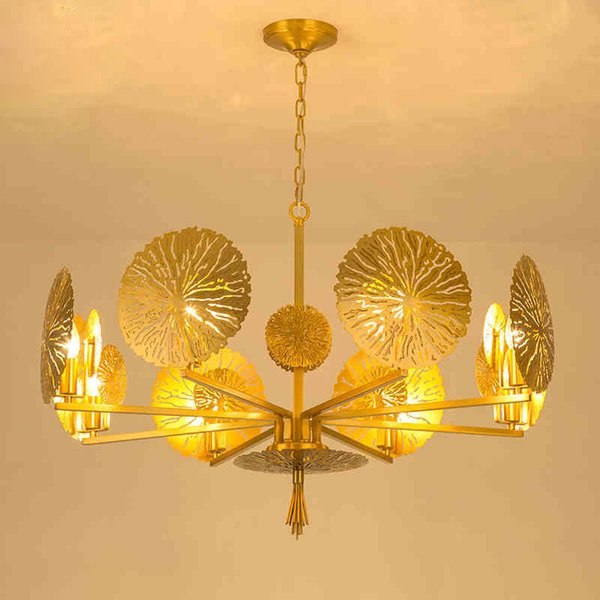 Post modern American living room all brass chandelier creative art new Chinese style lamps dining room copper chandelier bedroom lights