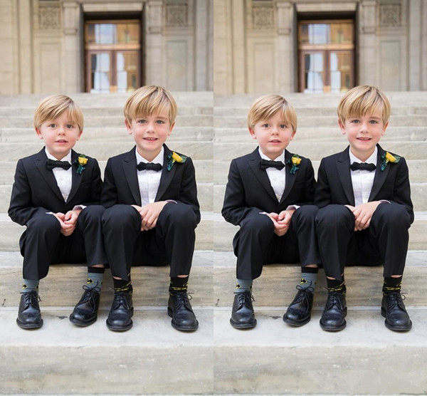 Custom Made Boys Suits For Weddings Black Kids Tuxedos New Arrival 2 Piece Little Men Suit Formal Wear