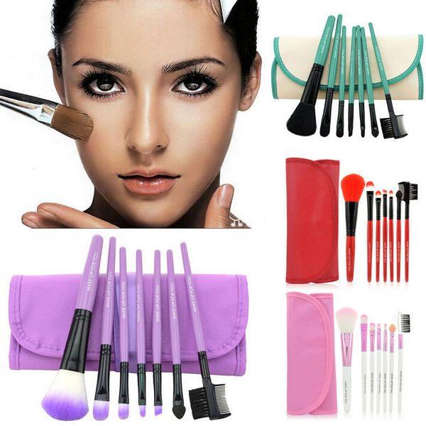 1Set=7pcs Multi-Function Pro Makeup Brushes Powder Concealer Blush Liquid Foundation Make up Brush Set Wooden Kabuki Brush Cosmetics gift