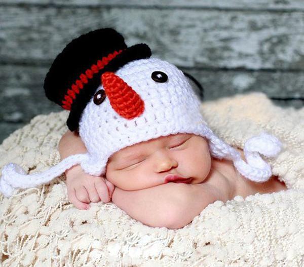 Cappello pupazzo di neve Bambino Ragazzi Ragazze Cappellini invernali Lavorato a maglia All'uncinetto Berretto Bambino Neonato Bambino Natale Hallowmas Beanie Earflaps Cotone