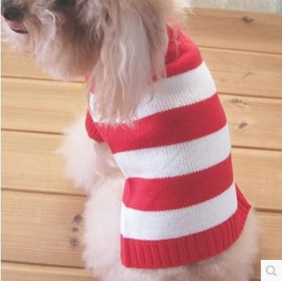 Venta al por mayor-caliente! Cuello alto Rayas Ropa para mascotas Lana para perros Suéteres clásicos xs / s / m Envío gratis