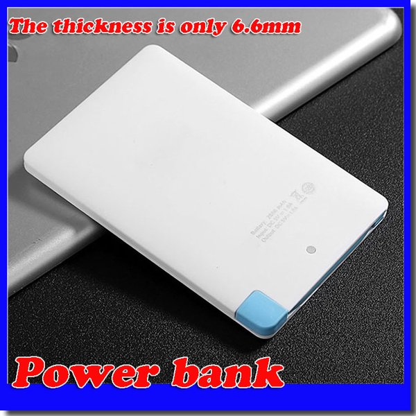 Super Light Small 2500mah Ultra Thin Credit Card Power Bank Built In USB Cable Backup Emergency Super Light Small free shipping