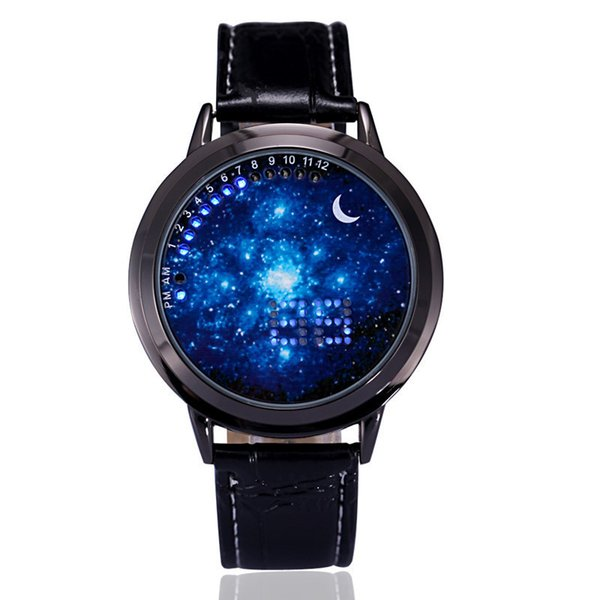 Fashion Digital LED Touch Screen Watches Starry Star Moon PU Leather Wristwatch Men Women Unisex Creative Casual Watches