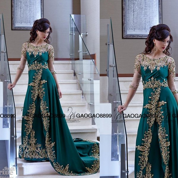 2019 Arabic Indian Style Formal Evening Dresses Crew Neckline Sheer Sequins Crystal Gold Lace Side Slit Dresses Party Evening Prom Gowns