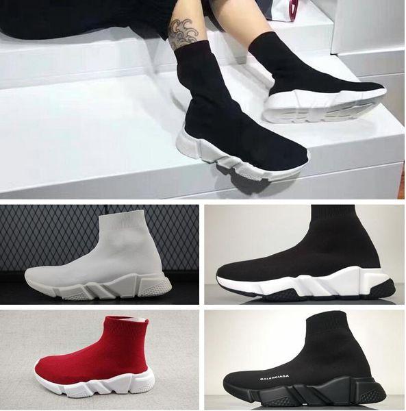 Marca de fábrica de alta calidad Unisex zapatos casuales Calcetines planos de moda Botas Mujer Nuevo Slip-on Tela elástica Speed Trainer Runner Hombre Zapatos al aire libre
