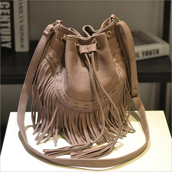 famous bucket bag Fashion Women Leather Tassels Bags Hobo Handbags Shoulder Tote Ladies Women Messenger Bags Free Shipping