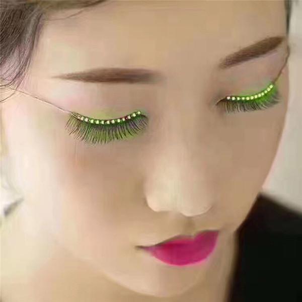 1 Pair LED False Eyelashes Light Eye Glow Halloween Waterproof Natural Unisex For Party Saloon Pub Club Bar Fashion Makeup Tool