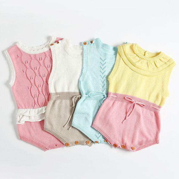 Acheter 2019 Printemps Eté Boutique Vêtements Bébé Fille Crochet Tricoter La Laine Barboteuse Taille Taille Sans Manches Pour Tout Petit Col Cap De