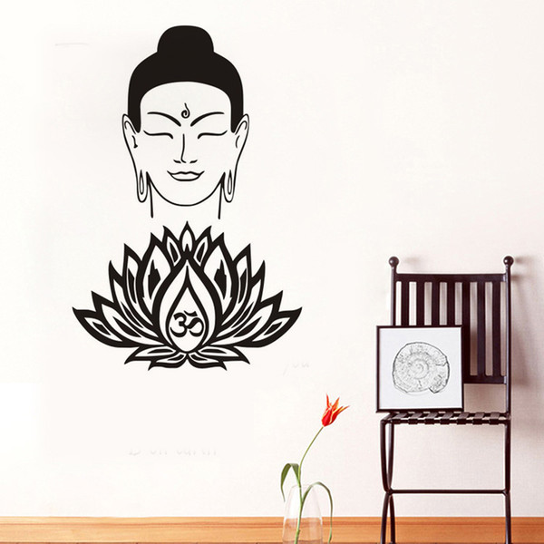 Kindly Buddha Face Wall Decals Vinyl OM Symbol Lotus Flower Wall Stickers Home Decor Interior Design Bedroom Studio Window Art Murals