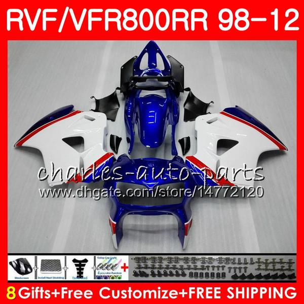 VFR800 Pour intercepteur HONDA VFR800RR 98 05 06 07 08 blanc bleu 09 10 11 90HM16 VFR 800 RR 1998 2005 2006 2007 2008 2009 2010 2011 Carénage