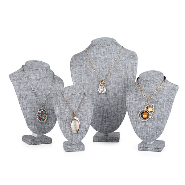 Top Grade Burlap Wooden Bust Mannequin Grey Linen Pendant Necklace Holder Jewelry Display Stand Rack Photographed Props