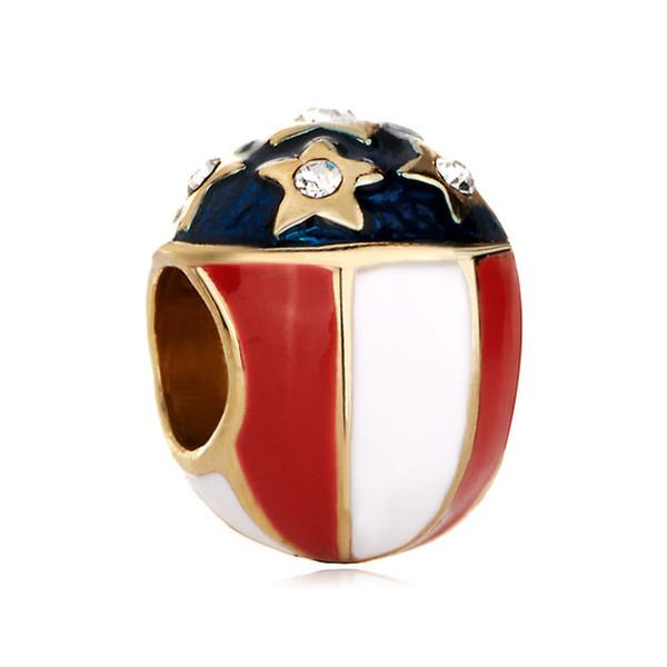Étoiles émaillées rouges, bleues, bleues, pays américain, drapeau des États-Unis, perle d'espacement européenne, bracelets de breloques en métal, Pandora Chamilia, compatibles