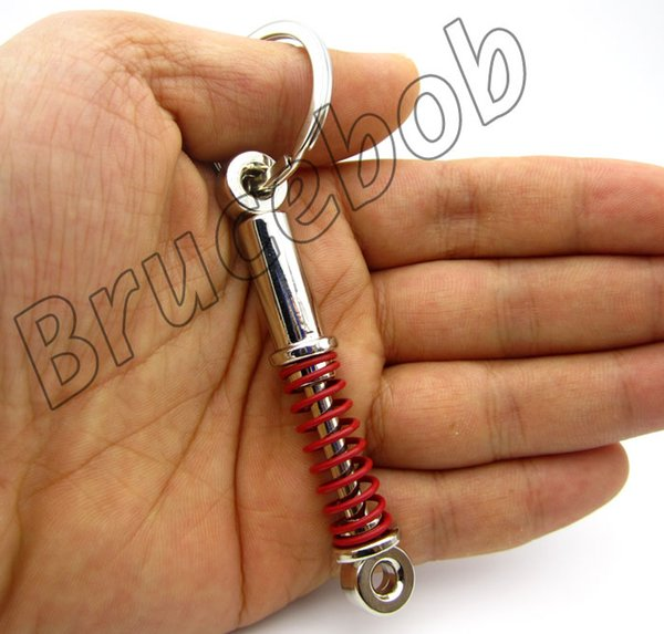 Free shipping zinc alloy Car Parts Shock Absorber Coilover Spring Key Chain Keychain Keyring Black red Color