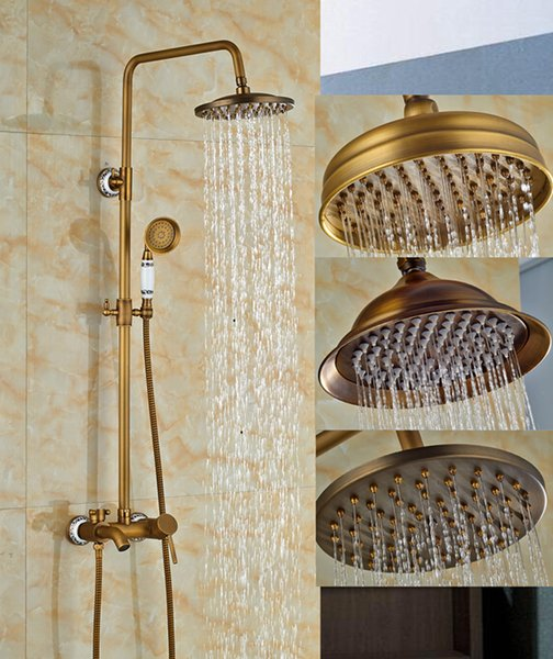 """Wholesale And Retail Antique Brass Wall Mounted 8"""" Rain Shower Faucet Tub Spout Mixer Tap W/ Hand Shower Sprayer Shower Column"""