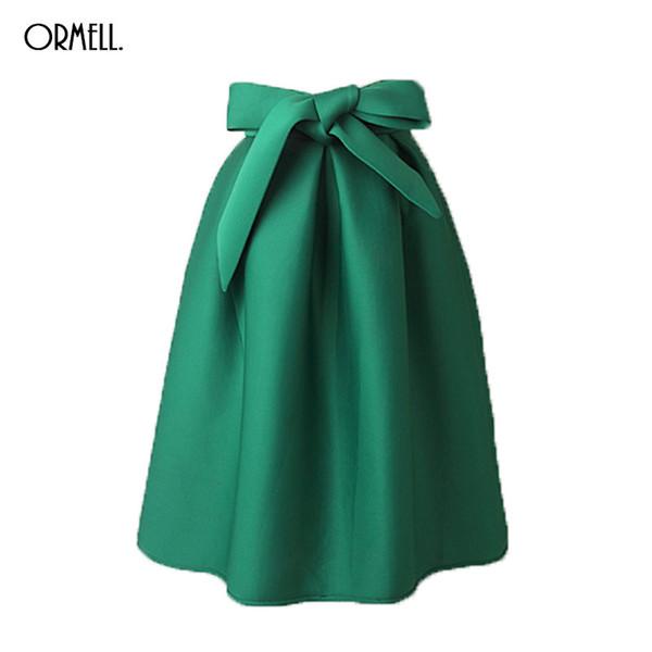 38c2d7886 Compre Al Por Mayor ORMELL Elegante Vintage Mujeres Falda De Cintura Alta  Plisada Larga Falda Midi Una Línea Gran Arco Rojo Negro Verde Lado ...