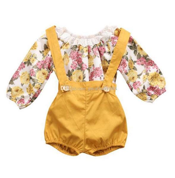 INS Çocuk çiçek kıyafetler kızlar pamuk çiçek dantel romper + askı şort 2 adet / takım bebek Çiçekleri Giyim Setleri C3224