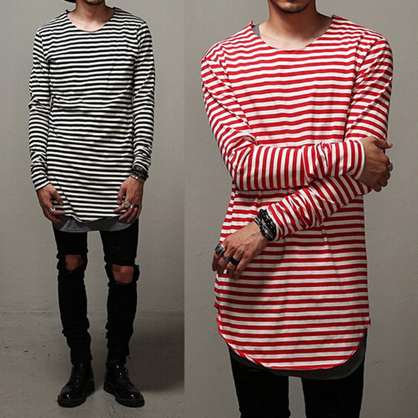 Wholesale-Swag Clothes Mens Curve Oversized Striped T Shirt Elongated Red Gray Black Extended Tee For Men Base Layer Long Sleeve Shirts