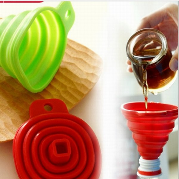 best selling DHL Free shipping Kitchen Tools,Portable Silicone Collapsible Folding Funnel