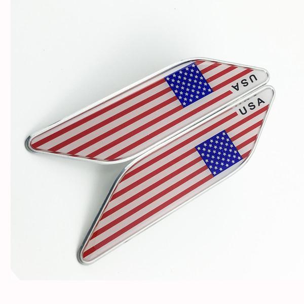 Chrome Auto Truck Sticker Decal USA US American Nation Flag Badge Emblem Accessories Trim 2PCS