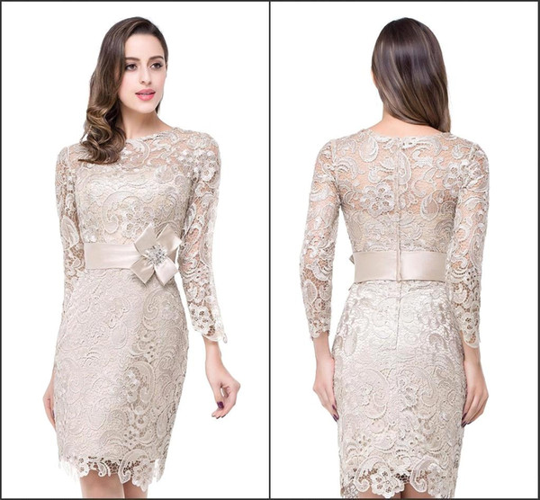 2016 Modest Long Sleeve Mother of the Bride Dresses Crew Neck with Handmade Belt Sheath Knee Length Vintage Lace Formal Evening GownsBZP0845