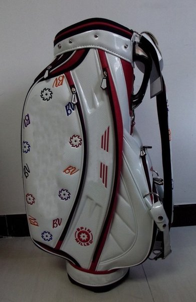 "best selling golf bag 2015 new style Ti PU red white sun flower Golf staff Bags 9"" in 5 dividers"