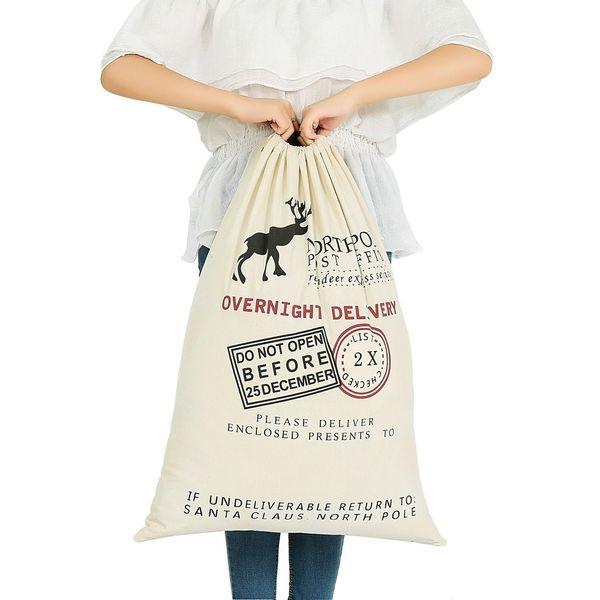 Großhandel 2017 Weihnachtsgeschenk Taschen große organische schwere Tasche Santa Sack Kordelzug mit Rentieren Weihnachtsmann Sack Taschen für Kinder