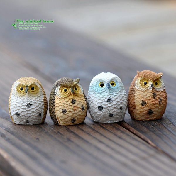 Night Owl Figures Miniature Figurine For Mini Fairy Garden Aquarium Fish Tank Animal Statue Resin Craft 4pcs