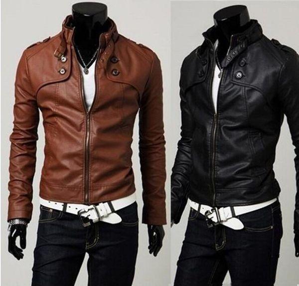 Chaquetas de cuero para hombres 2015 Moda Nuevo coreano delgado Collar de pie Chaquetas deportivas Chaqueta de cuero para hombre PU Motocicleta chaqueta corta Abrigo
