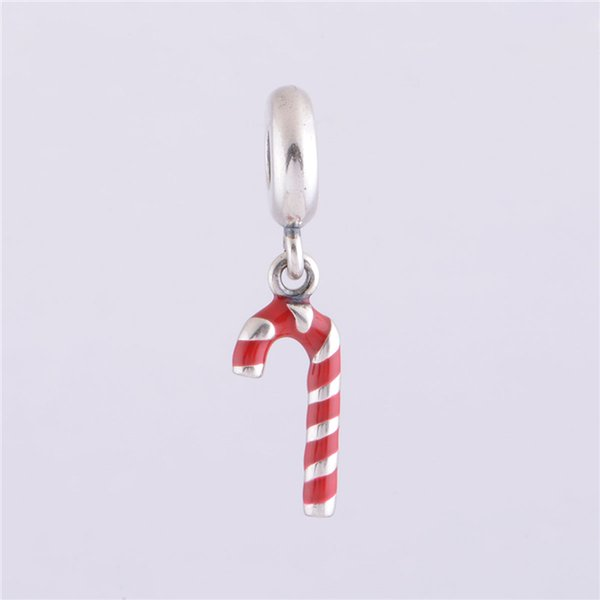 RED CANDY CANE DANGLE CHARM DIY Beads Real Solid 925 Sterling Silver Not Plated Fits Original Pandora Bracelets & Bangles & Necklaces
