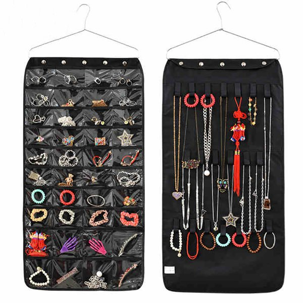 Wholesale- Double Sided 40 Pockets Hanging Jewelry Organizer Bracelet Earring Ring necklace Holder Hang Hook Bag New